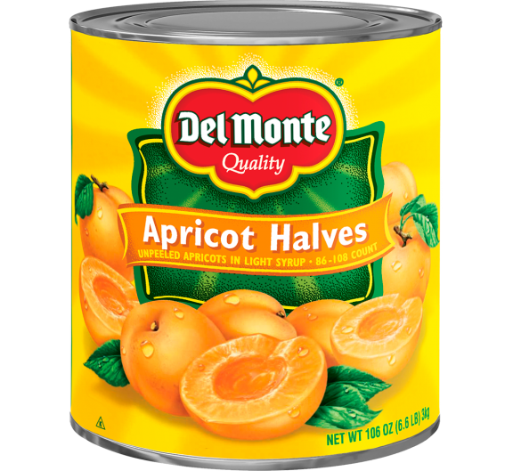 Del Monte® Unpeeled Apricot Halves in Light Syrup - 86-108 Count