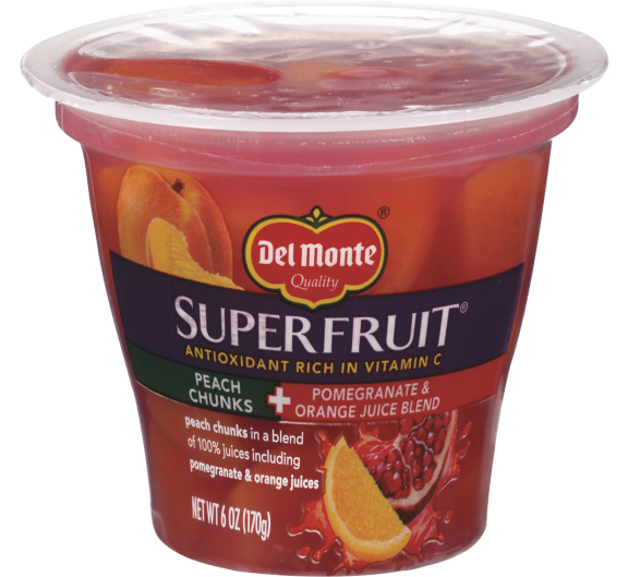 Del Monte Superfruit® Peach Chunks in Pomegranate & Orange Juice Blend